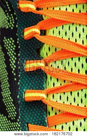 Close up colored laces shoes.Useful for sport background.