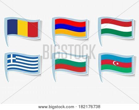 Vector flags illustration. Flags of Armenia, Azerbaijan, Bulgaria, Hungary, Greece, Romania