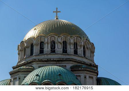 SOFIA, BULGARIA - APRIL 1, 2017: The golden domes of Cathedral Saint Alexander Nevski in Sofia, Bulgaria