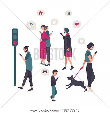 Gadgets, smartphone addiction conceptual illustration with people at street