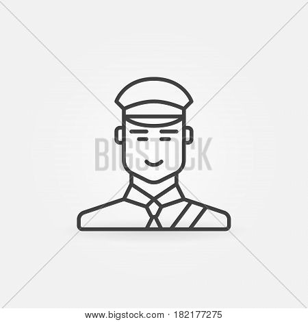 Customs officer or inspector icon - vector minimal symbol or design element in thin line style