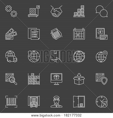 Delivery and logistics icons. Vector collection of thin line logistic minimal signs on dark background