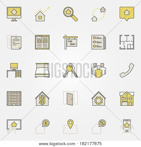 House rent colorful icons. Vector real estate and find apartments for rent creative signs