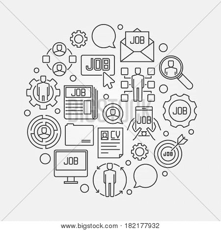 Job concept illustration. Vector circular minimal search jobs outline sign