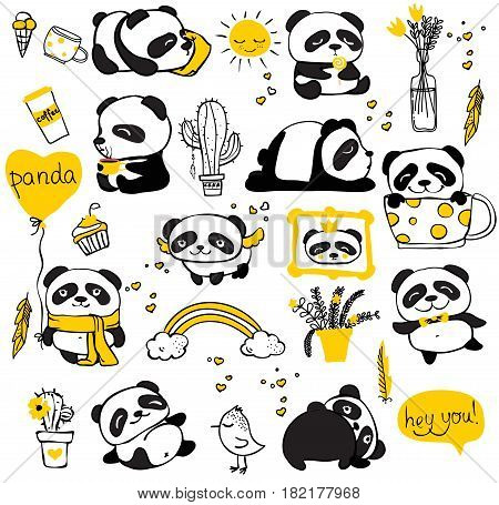 Panda doodle kid set. Simple design of cute pandas and other individual elements perfect for kid's card