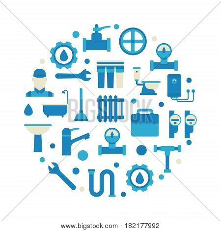 Plumbing repair and service illustration - vector colorful round symbol made with flat plumbing icons