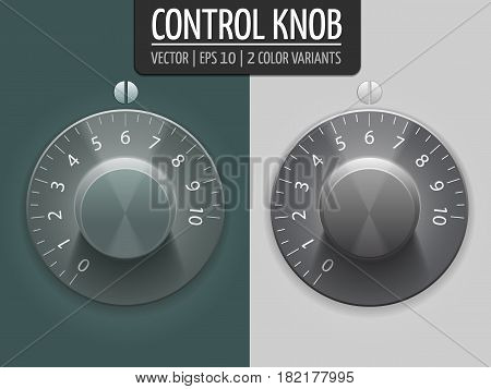 Volume control knobs, vector illustration. UI element for your design. eps10