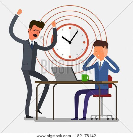 Concept of deadline. Angry businessman shouting at his workers. Flat design, vector illustration.