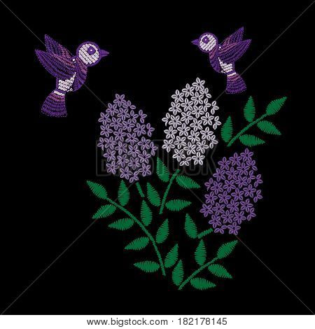 Embroidery stitches imitation branch of lilac with green leaf and bird. Vector embroidery floral folk pattern with flower on the black background.