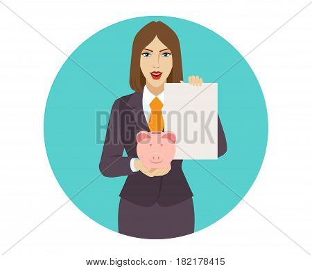 Businesswoman holding a piggy bank and paper. Portrait of businesswoman in a flat style. Vector illustration.