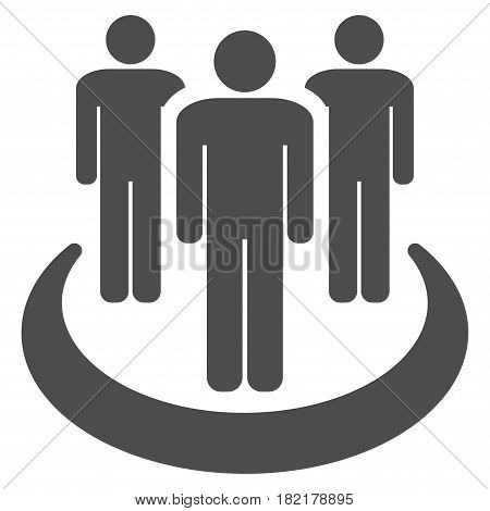 Affiliate vector pictogram. Illustration style is a flat iconic gray symbol on a white background.