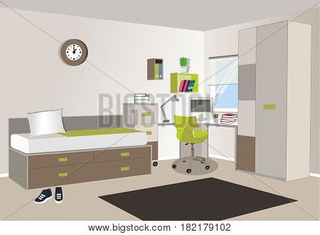 Teenager room interior with colored furniture - bed, computer desk , computer, bookshelf , nightstand . Flat style vector illustration