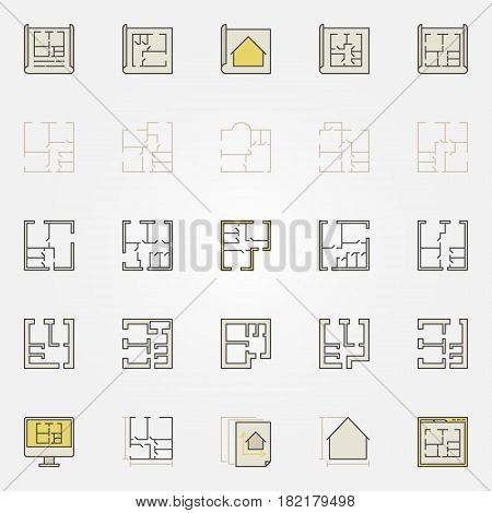 Apartment plan colorful icons. Vector creative floor plan signs or architecture design elements