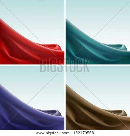 Vector Set of Colored Red Blue Violet Purple Brown Turquoise Satin Silky Cloth Fabric Textile Drape with Crease Wavy Folds. Abstract Background