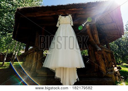 Beautiful wedding dress hanging on the wooden arbor next to the birch outdoors