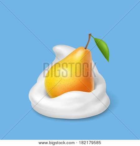 Pear in whipped cream. Milk yogurt and fruit . Realistic illustration. Vector icon.