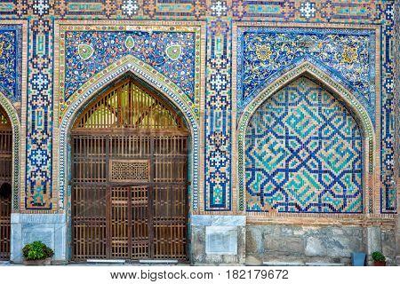 Detail of Tilya-Kori madrasah in Registan Samarkand Uzbekistan