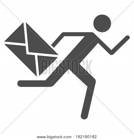 Courier vector pictograph. Illustration style is a flat iconic grey symbol on a white background.