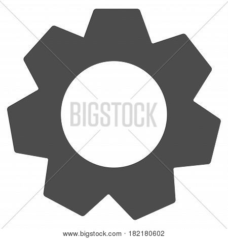 Gear vector icon. Illustration style is a flat iconic grey symbol on a white background.