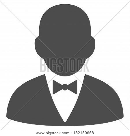Gentleman vector icon. Illustration style is a flat iconic gray symbol on a white background.