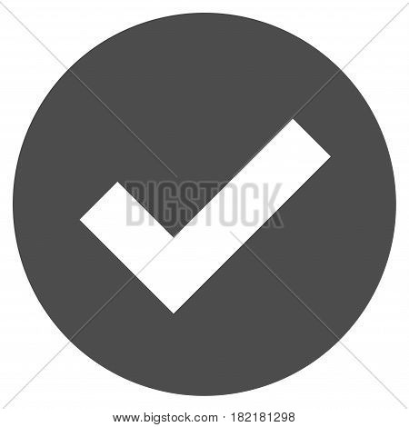 Ok vector icon. Illustration style is a flat iconic grey symbol on a white background.