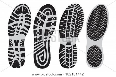 set footprint sport shoes stock vector  foot