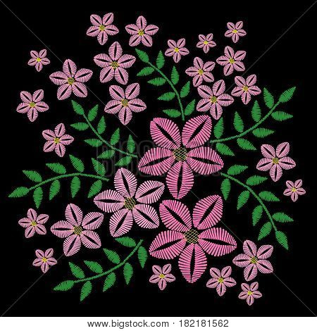Embroidery stitches imitation with pink flower and green leaf. Vector embroidery floral folk pattern with bird on the black background.