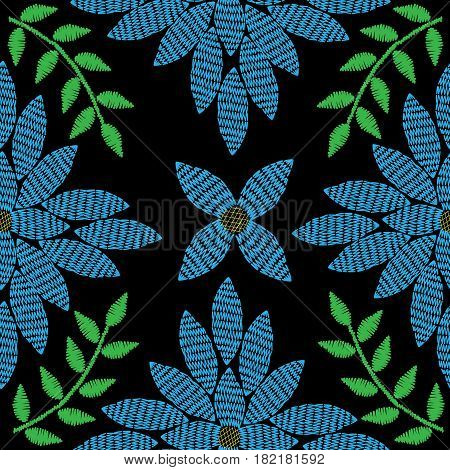 Seamless vector embroidery stitches imitation pattern with big blue flower and green leaf. Embroidery floral background with abstract flower for printing on fabric paper for scrapbook gift wrap.