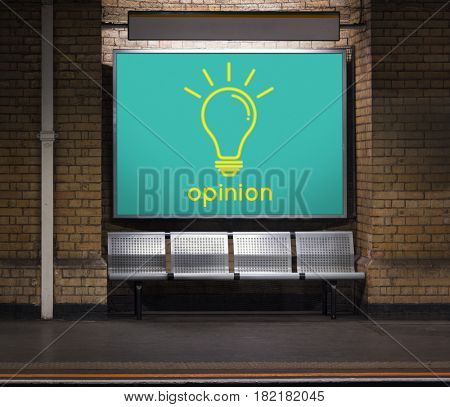 Opinion word light bulb icon graphic