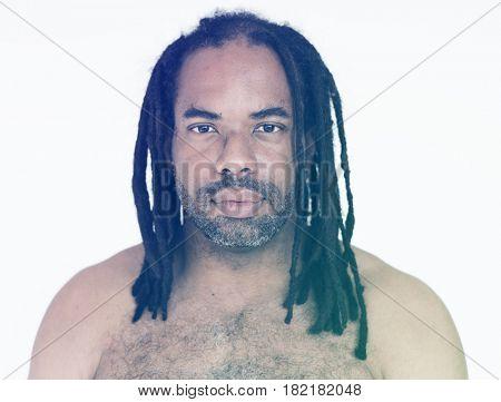 Dreadlock Man Face Expression Studio Portrait