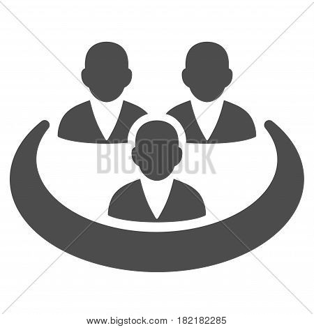 Social Network vector icon. Illustration style is a flat iconic gray symbol on a white background.