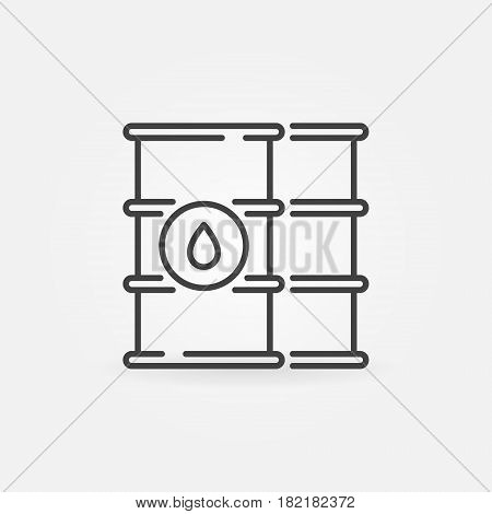 Oil barrels outline icon. Vector simple barrel symbol or logo element in thin line style