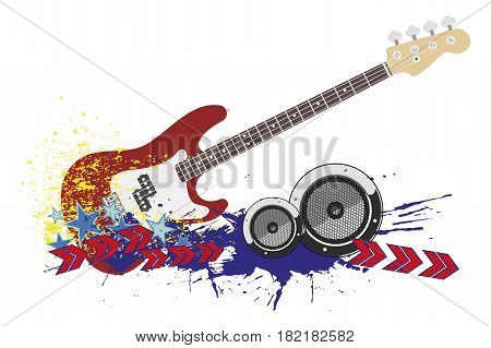 Electro bass guitar and ornament in modern style isolated on white background.