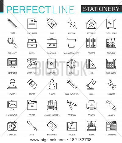 Office stationery thin line web icons set. Outline icon design