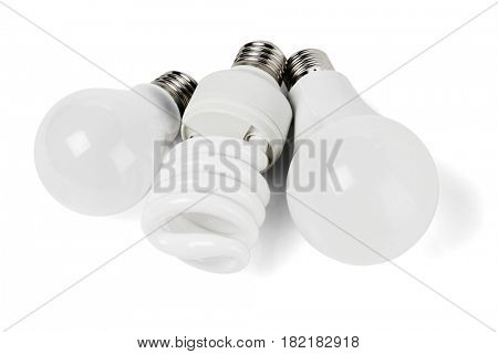 Assortment of Electric Light Bulbs in White Background
