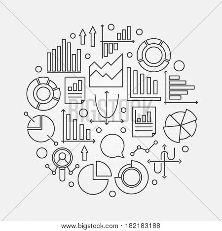 Analysis linear illustration. Vector round sign made with chart, graph and diagram icons in thin line style