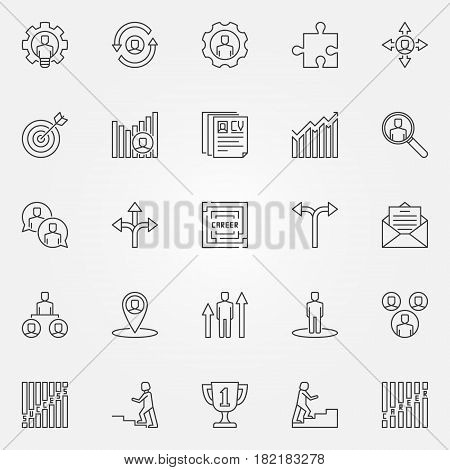 Career icons set. Vector career development concept signs or design elements in thin line style