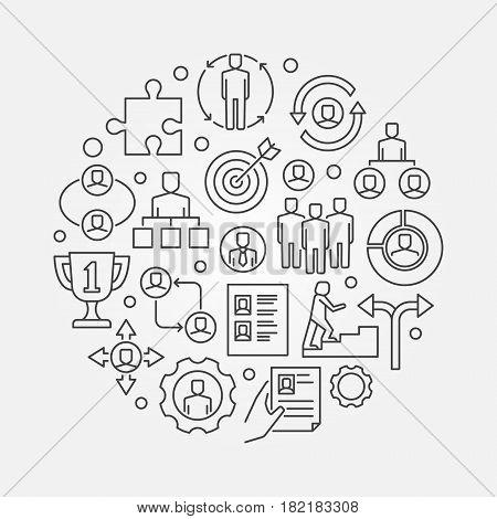 Employment and recruitment illustration. Vector career concept symbol made with business icons in thin line style