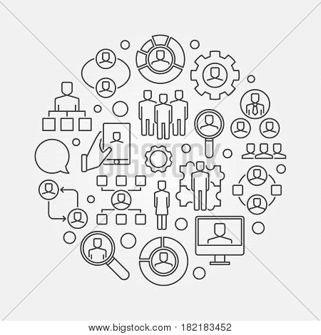 Human resources thin line illustration - vector HR concept circular sign in thin line style