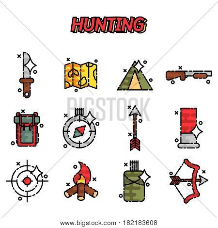 Hunting flat concept icons. Vector illustration, EPS 10