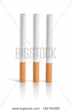 Three cigarettes Isolated on a white background