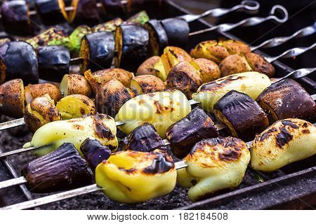 Skewered vegetables zucchini courgettes cucumber peppers aubergine preparing barbecue grill charcoal Grilled roasted fried slices covered beautiful crust Mediterranean cuisine delicious food bbq party