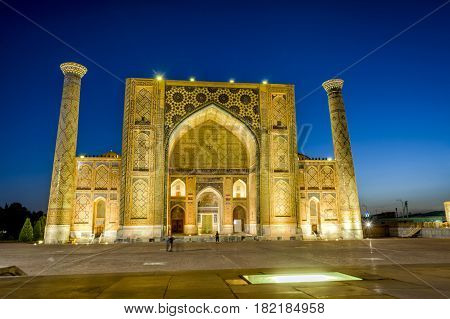 Ulugh Beg Madrasah At Night, Samarkand, Uzbekistan
