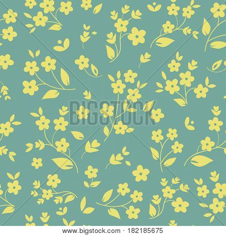 Millefleurs seamless pattern design with small field flowers silhouettes daisies botanical elements light yellow on silver grey background. For fabric prints wallpaper upholstery luxury elegant