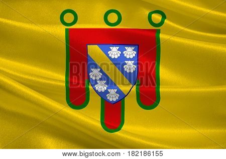 Flag of Cantal is a department in south-central France and is part of the current region of Auvergne-Rhone-Alpes with its capital at Aurillac. 3d illustration