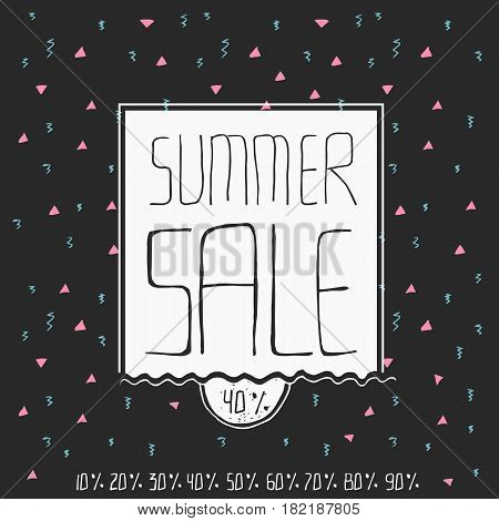 Summer sale banner in doodle style with lettering and design elements.