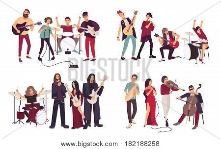 Different musical bands. Indie, metal, punk rock, jazz, cabaret. Young artists, musicians singing and playing music instruments. Colorful flat illustration set