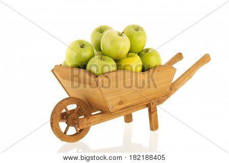 Wheelbarrow full with green fresh apples