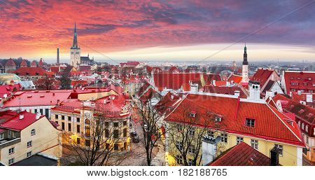 Tallin old town Estonia at a sunrise