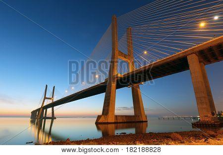 Bridge Lisbon at sunrise Portugal - Vasco da Gamma